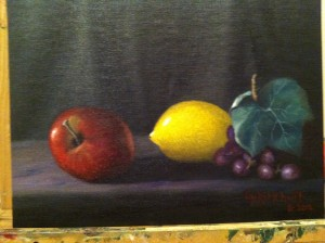 3 fruits 9x12 oil on board