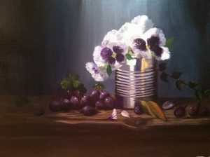 Pansies in can 11 x 14, Oil on Canvas Giclee available
