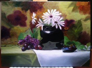 Black Vase with daisy's 9x12 oil on board Oil on board for Sale