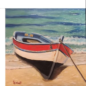 "Chillin on the shore 6x6"" Oil For Sale $385.00"
