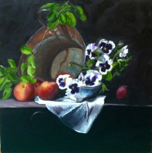 "Peaches & Pansies 6 x 6"" oil- framed for Sale $ 400."