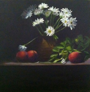 "White Daisy's 6x6"" oil Sold $400.00"